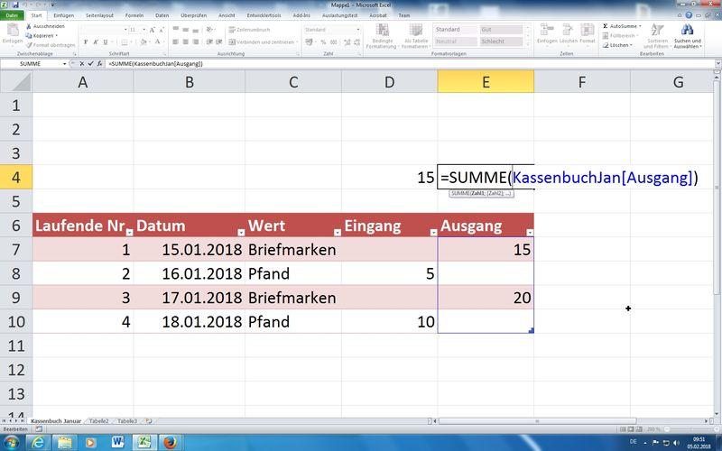 Datenbankfunktionen Excel